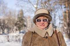 Senior woman in winter Royalty Free Stock Photos