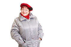 Senior woman in winter clothing Royalty Free Stock Image