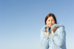 Senior woman winter sky background Stock Images