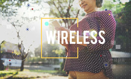 Senior woman wireless communication concept Royalty Free Stock Photography