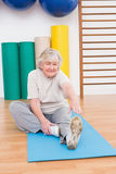 Senior woman working on exercise mat Stock Photos
