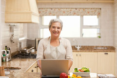 Senior woman working on her laptop Stock Photos