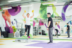 Senior woman working out in gym Royalty Free Stock Photo
