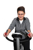 Senior woman working out (isolated in white) Royalty Free Stock Image