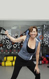 Senior woman working out with trx bands Stock Image