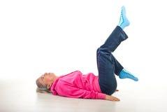 Senior woman workout stock images