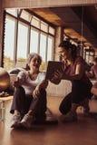 Senior woman workout in rehabilitation center. Stock Photos