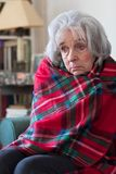 Senior Woman Wrapped In Blanket Unable To Afford Heating Bills. Unhappy Senior Woman Wrapped In Blanket Unable To Afford Heating Bills Stock Image