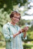 Senior Woman Writing Text message Stock Photography
