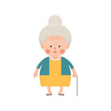 Senior Woman in Yellow Dress with Walking Stick Royalty Free Stock Images