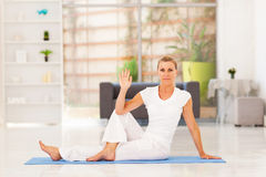 Senior woman yoga Stock Photo