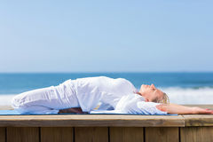 Senior woman yoga Royalty Free Stock Images