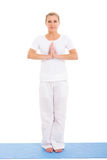 Senior woman yoga Stock Photos
