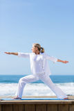 Senior woman yoga pose Stock Image