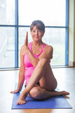Senior woman in yoga pose Stock Photo