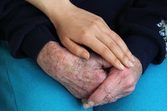 Senior woman and young woman's hands Stock Photography