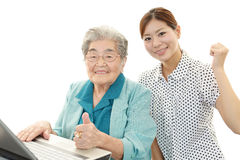 Senior woman and young woman stock photography