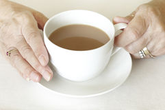 Senior womans hands holding cup of tea Royalty Free Stock Photo
