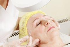 Senior woman at beautician parlor Royalty Free Stock Image
