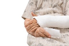 Senior women with broken arm Royalty Free Stock Images