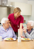 Senior women with carer. Enjoying meal at home stock images