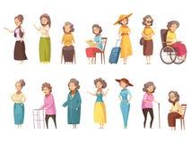 Senior Women Cartoon Icons Set Royalty Free Stock Images
