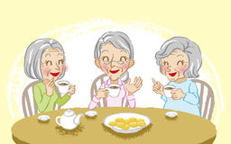 Senior women cheerful tea time Stock Photos