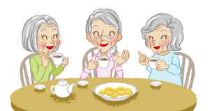 Senior women cheerful tea time white background Stock Photos