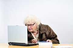 Senior woman with computer Stock Photo