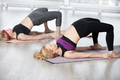 Senior women doing shoulder bridge exercise. Fitness, stretching practice, group of two attractive fit mature women working out in sports club, warming up, doing Stock Images