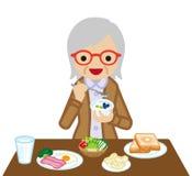 Senior Women eating  breakfast. Vector Illustration Stock Image