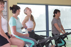 Senior women enjoying themselves at the gym Royalty Free Stock Images