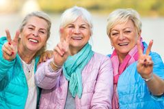 Senior women gesturing Stock Photo