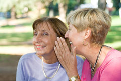 Senior women gossip. Two senior elderly women sitting in the park and gossiping. telling a secret to another stock images