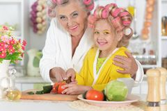 Portrait of senior woman and granddaughter at kitchen royalty free stock image