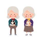 Senior Women Holding Cat, Cartoon Character Royalty Free Stock Photography