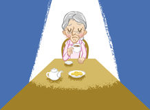 Senior women lonely tea time Royalty Free Stock Images