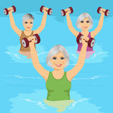 Senior women making aqua gym exercises with dumbbells in swimming pool Stock Photos