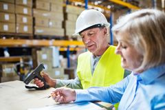 Senior woman manager and man worker working in a warehouse. Senior women manager and a men worker with barcode scanner working together in a warehouse Stock Images