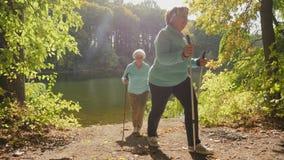 Senior women Nordic walking. Enjoying nature in sunny autumn park. Slow-motion shot stock video