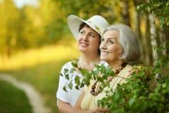 Senior women resting at  park Royalty Free Stock Photos