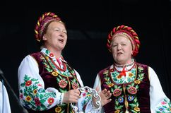 Senior women singing traditional ukrainian song at Day of Kiev holiday. KIEV,UKRAINE - MAY 31:Unidentified senior women singing traditional ukrainian song at Day Royalty Free Stock Images