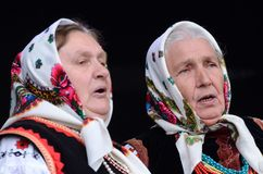 Senior women singing traditional ukrainian song in Royalty Free Stock Photo