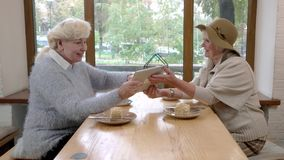 Senior women with a tablet. Coffee and cake on table. In step with the times stock video footage