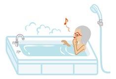 Senior Women taking a bath Stock Photography