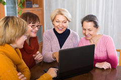 Senior women working with notebook. Senior female friends working with notebook using wifi Royalty Free Stock Photography