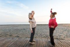 Senior women workout outdoor. Two senior women workout outdoor Stock Image