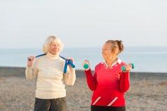 Senior women workout outdoor. Two senior women workout outdoor Stock Photo