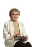 Senior  Woring Tablet Computer on White Background Royalty Free Stock Photo