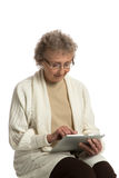 Senior Woring Tablet Computer White Background Royalty Free Stock Image